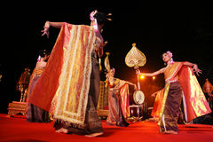 Woman performs a Thai traditional dance Stock Images