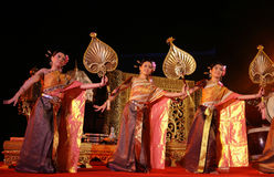 Woman performs a Thai traditional dance Royalty Free Stock Image