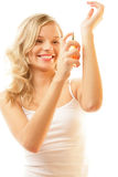 Woman with perfume Royalty Free Stock Image