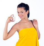 Woman with perfume Stock Photography