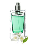 Woman perfume in beautiful bottle and jasmine flowers Royalty Free Stock Image