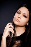 Woman with perfume bottle stock photos