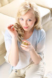 Woman with perfume bottle Royalty Free Stock Photo