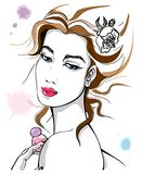Woman and perfume with colored blots. Beautiful woman with perfume in hand and colored blots. Sensual and hand-drawn design for fashion, beauty, fragrance Stock Photos