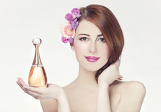 Woman with perfume Royalty Free Stock Photography