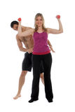 Woman with personal trainer Royalty Free Stock Photo