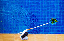 Woman, personnel cleaning the pool from leaves. Woman, personnel cleaning out the pool from leaves royalty free stock images