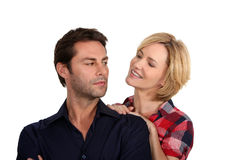 Woman persuading her husband stock photo
