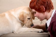 Woman with pet Royalty Free Stock Photos
