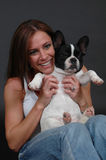 Woman with pet bulldog Royalty Free Stock Image