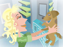 Woman with pet dog. Cartoon illustration of blond haired woman holding dog in air Royalty Free Stock Photos