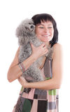 Woman with pet dog Royalty Free Stock Images