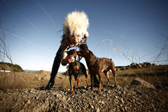Woman with pet dogs Stock Photography