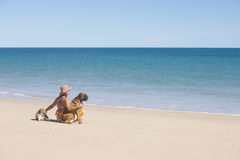 Woman and pet dogs sitting at tropical beach. Portrait attractive mature woman sitting happy and relaxed with dogs at beach, with ocean and blue sky as Royalty Free Stock Photo