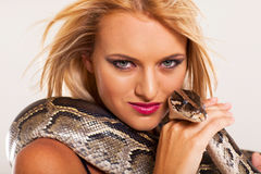 Woman pet python Stock Image