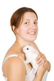 Woman with pet rabbits Stock Photos