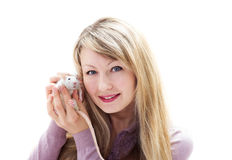 Woman and pet rat Royalty Free Stock Image