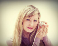 Woman and pet rat Royalty Free Stock Images