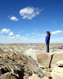 A Woman in Petrified Forest Stock Images