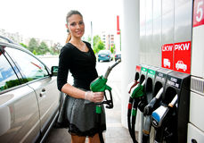 Woman in petrol station Royalty Free Stock Photography