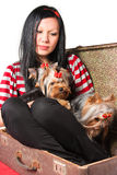 Woman with pets. Beautiful young woman with two small dogs Royalty Free Stock Photography