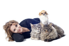 Woman and pets Royalty Free Stock Photo