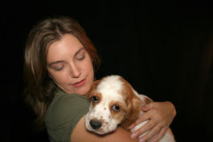 Woman Petting Dog Stock Photos