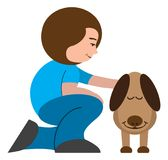 Woman Petting Dog. A cartoon woman is smiling and petting her very appreciative cartoon dog Royalty Free Stock Photo