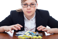 Woman and pharmaceuticals Stock Photo