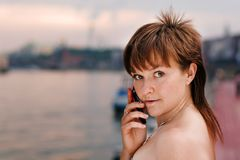 Woman with the phone Royalty Free Stock Photos