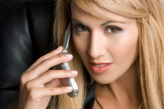 Woman on Phone Stock Photo