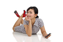Woman and Phone Royalty Free Stock Images