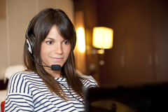 Woman at phone Royalty Free Stock Images