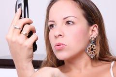 Woman at phone Royalty Free Stock Photo