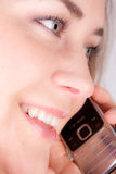 Woman with a phone royalty free stock photography