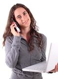 Woman and phone Royalty Free Stock Image