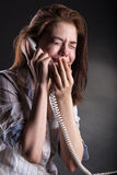 Woman with a phone Stock Image