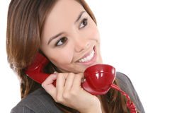 Woman and Phone Royalty Free Stock Photo