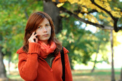 Woman and phone Royalty Free Stock Photos