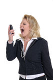 Woman with phone. Nice woman with a phone while a call and scream Stock Images