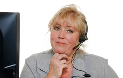 Woman phone assistance Stock Images