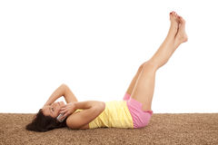 Woman phone back legs up Royalty Free Stock Photo