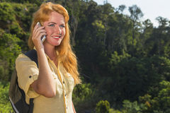 Woman with the phone stock photography