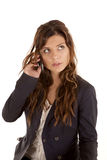 Woman phone black suit look up Royalty Free Stock Photo