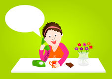 Woman on phone with blank speech bubble. Woman at home on the phone with empty speech bubble Stock Photo