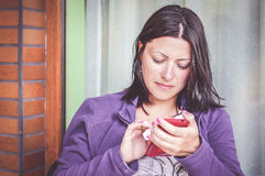 Woman and phone Stock Photography