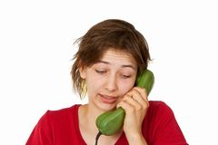 Woman during phone call Royalty Free Stock Photos