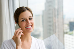 Woman on phone call at home Royalty Free Stock Photos