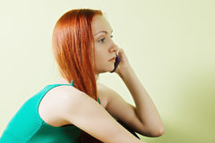 Woman on phone closeup Royalty Free Stock Photo