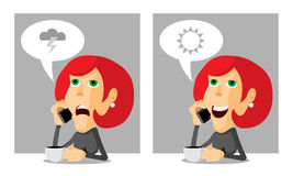Woman on the phone. Woman with coffee and a phone, anger and joy, cartoon illustration Royalty Free Stock Photography